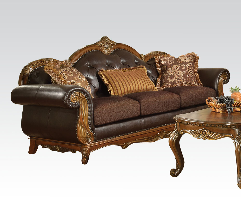 Dorothea Living Room Set in Leather and Fabric
