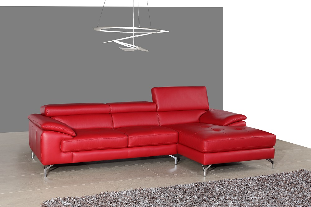 Sectional Sofa In Red Italian Leather