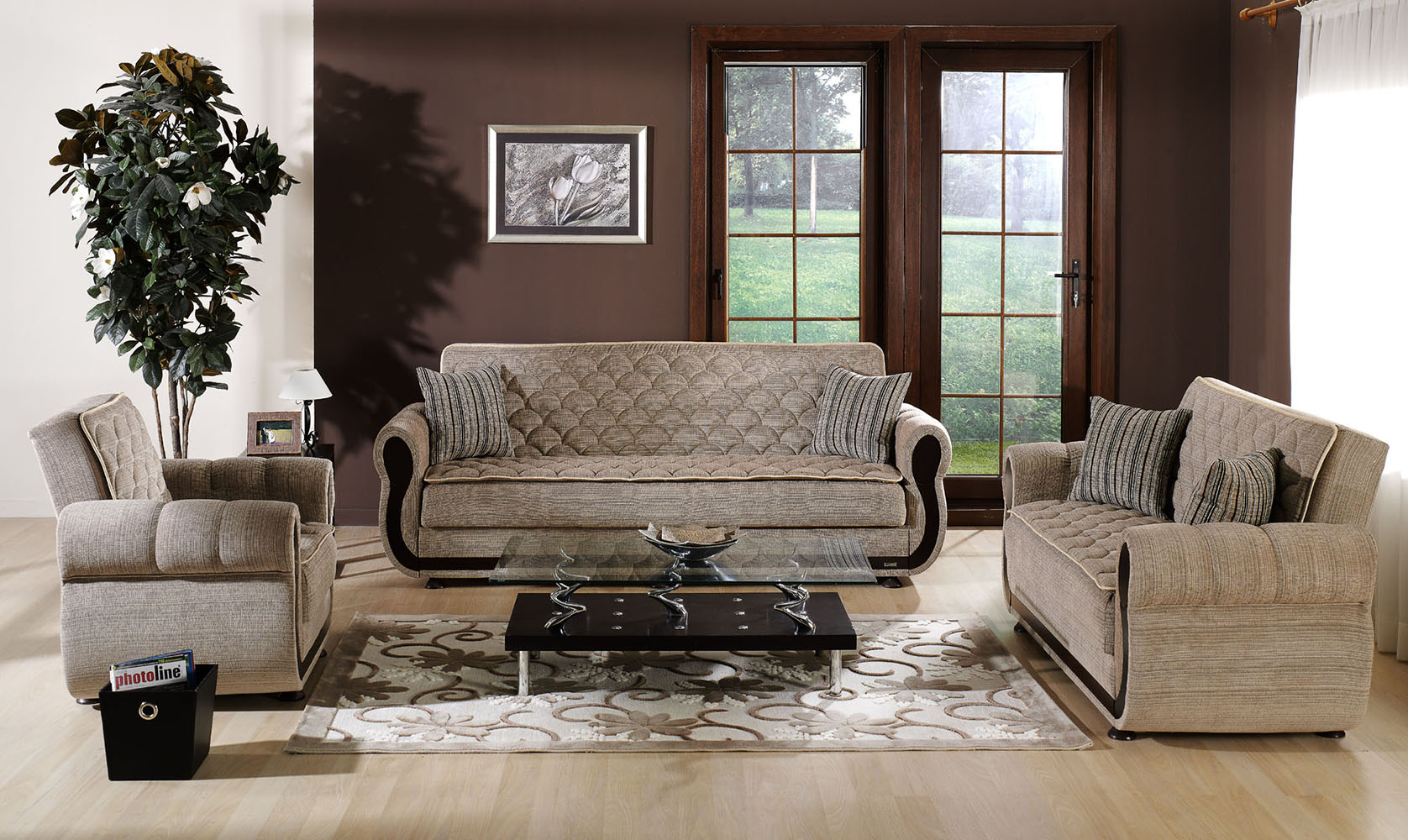 Argos Living Room Set in Zilkade Brown Fabric by Sunset