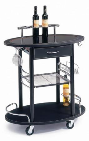 Black Leather Modern Mini Bar Cart