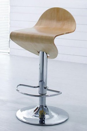 21 Natural Curved Wood Seat Bar Stool
