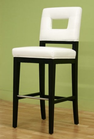 Bianca Cut-Out Back White Leather Bar Stool