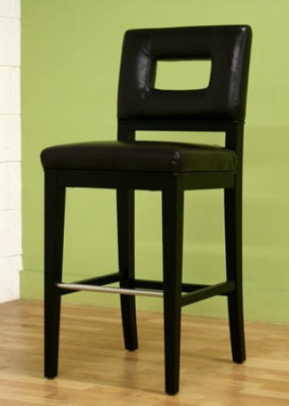 Faustino Cut-Out Back Dark Brown Leather Bar Stool