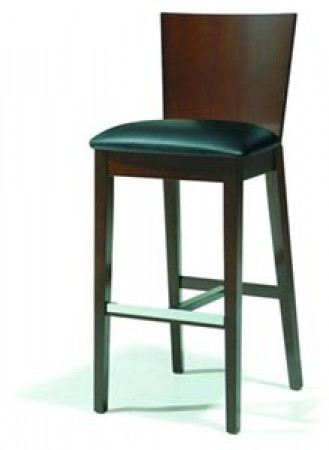 Barstool 82 Walnut Wood Gray Micro Fiber - Set of 2