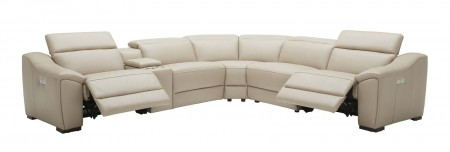 Nova Sectional Sofa in Tan Leather with Recliners