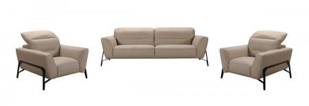 Divani Casa Evora Living Room Set in Taupe Leather