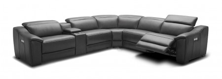 Nova Sectional Sofa in Dark Grey Leather with Recliners