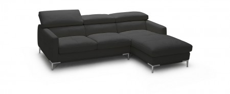 1281B Modern Sectional in Black Leather