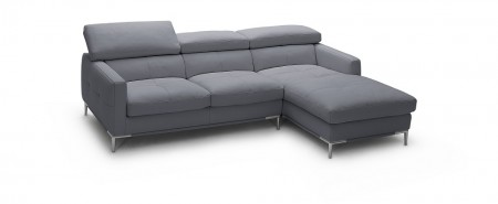 1281B Modern Sectional in Grey Leather