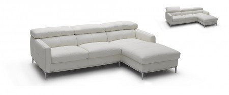 1281B Modern Sectional Sofa in White Leather