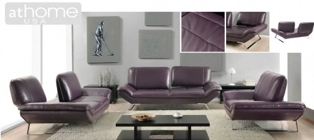 Roxi Purple Italian Contemporary Leather Sofa Loveseat or Chair Set
