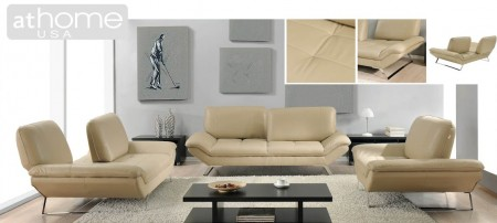 Roxi Living Room Set with Sliding Backs in Beige Leather