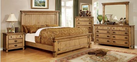 Pioneer Bedroom Set in Weathered Elm