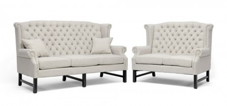 63102 Anna Sofa Loveseat Set in Beige Fabric