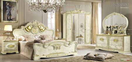 Leonardo Italian Bedroom Set in Ivory and Gold Finish