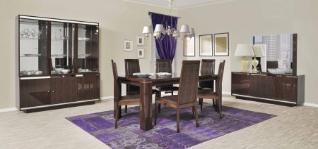 Caprice Italian Modern High Gloss Lacquered 7 Piece Dining Set