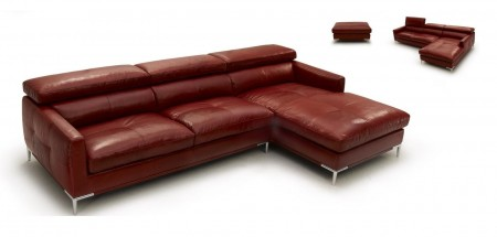 1281 Modern Top Grain Italian Leather Adjustable Headrests Sectional