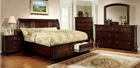Northville Traditional Bedroom Set in Dark Cherry with Storage Bed