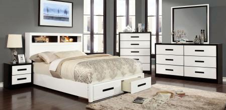Rutger Modern Bedroom Set in White and Black
