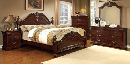 Mandura Traditional Bedroom Set in Cherry Finish