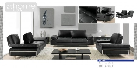 Gia Living Room Set with Sliding Backs in Black Leather