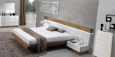 White Wood Madrid Modern Bedroom Set by J&M Furniture