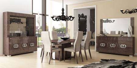 Prestige Dining Room Set in Brown Lacquer