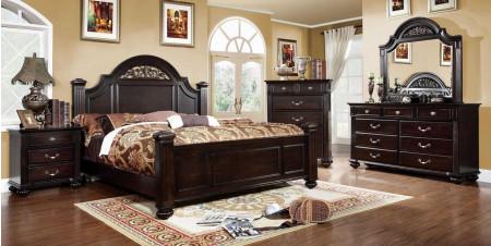 Syracuse Traditional Bedroom Set in Dark Walnut Finish