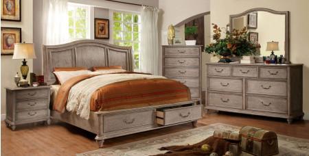 Belgrade I Bedroom Set in Rustic Natural Tone with Storage Bed