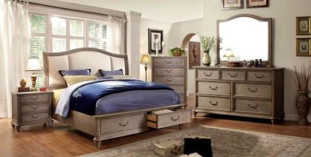 Belgrade I Traditional Bedroom Set in Rustic Natural and Ivory