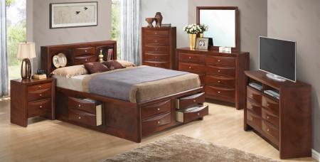 Cherry Finish Storage Bedroom Set G1550G Glory Furniture