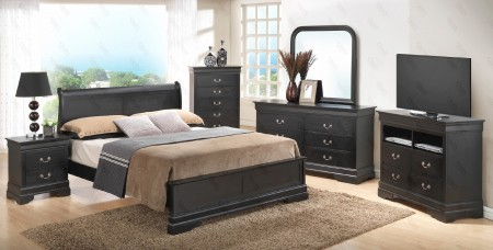 5 Piece Solid Wood Black Bedroom Set G3150E