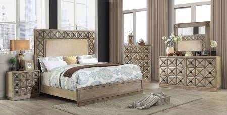 Markos Bedroom Set in Weathered Light Oak and Beige