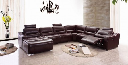 ESF 2144 Reclining Sectional Sofa in Brown Leather