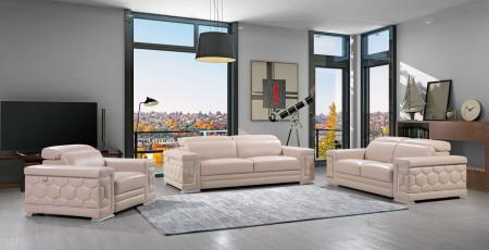 Divanitalia 692 Living Room Set in Beige Leather