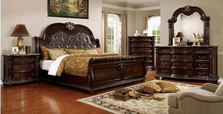 Fromberg Sleigh Bedroom Set in Brown Cherry