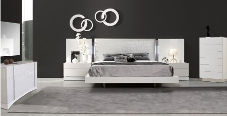 J&M Seville Modern Bedroom Set in White Lacquer Finish
