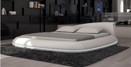 Modrest Cerchio Round Bed in Grey Leather