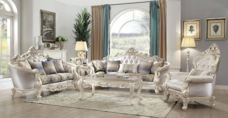 Gorsedd Living Room Set in Fabric and Antique White