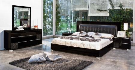 Modrest Grace Italian Bedroom Set in Black Lacquer Finish