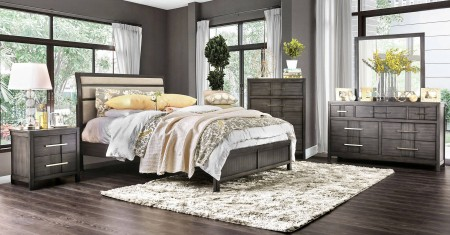 Berenice Modern Bedroom Set in Gray And Beige