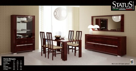 Charme Mahogany Contemporary Italian Formal Dining Room Set