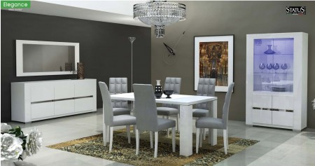 Elegance Italian Dining Room Set in White Lacquer Finish