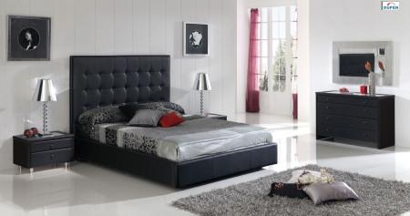 Penelope Bedroom Set in Black Finish by Dupen Spain