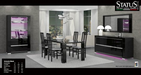 Armonia Black Italian Modern Dining Room Set by Status, Italy