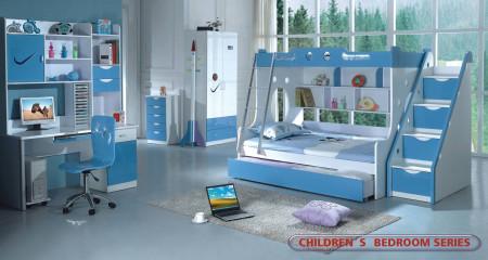 Modern Kids Furniture Bedroom Set Twin Full Bunk Bed 100B2