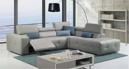 S300 Reclining Sectional Sofa in Grey Leather