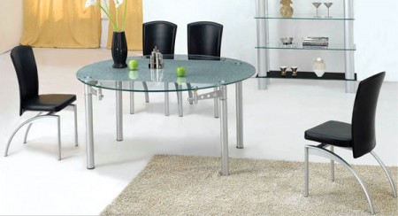 Black Chairs Glass Top Contemporary Dining Set 350DT