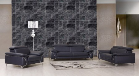 Divanitalia 727 Modern Living Room Set in Navy Leather