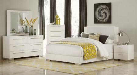 1811W Linnea Bedroom Set in White Gloss Finish